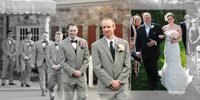 groom leads groomsmen to the ceremony