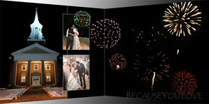 New Year Eve fireworks displayed in a wedding album design
