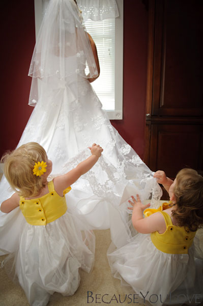 bride and two flower girls