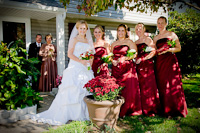 Formal portrait of the bride and her bridesmaids just before the wedding ceremony.